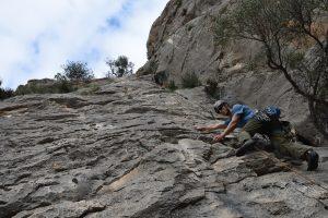 Alex Fletcher warming up on Pequeñecos III a nice 5a at Sella near Benidorm on the Costa Blanca.