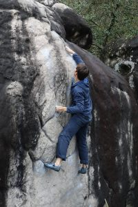 The Marie Rose, the first and by no means the easiest Font 6a in Fontainebleau.