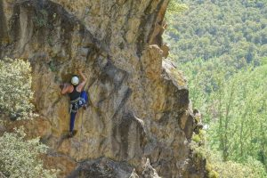 Climbing some newly bolted sports routes near Potes in Picos De Europa.