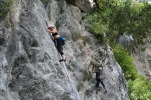 Climbing in the Hermida Gorge in Picos De Europa.
