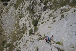 A team following up the amazing 12 pitch Hermida Pillar, Picos De Europa.