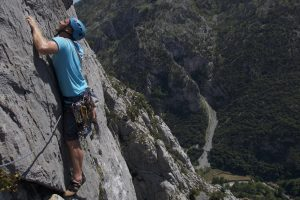 Exposure high above the Hermida Gorge Picos De Europa