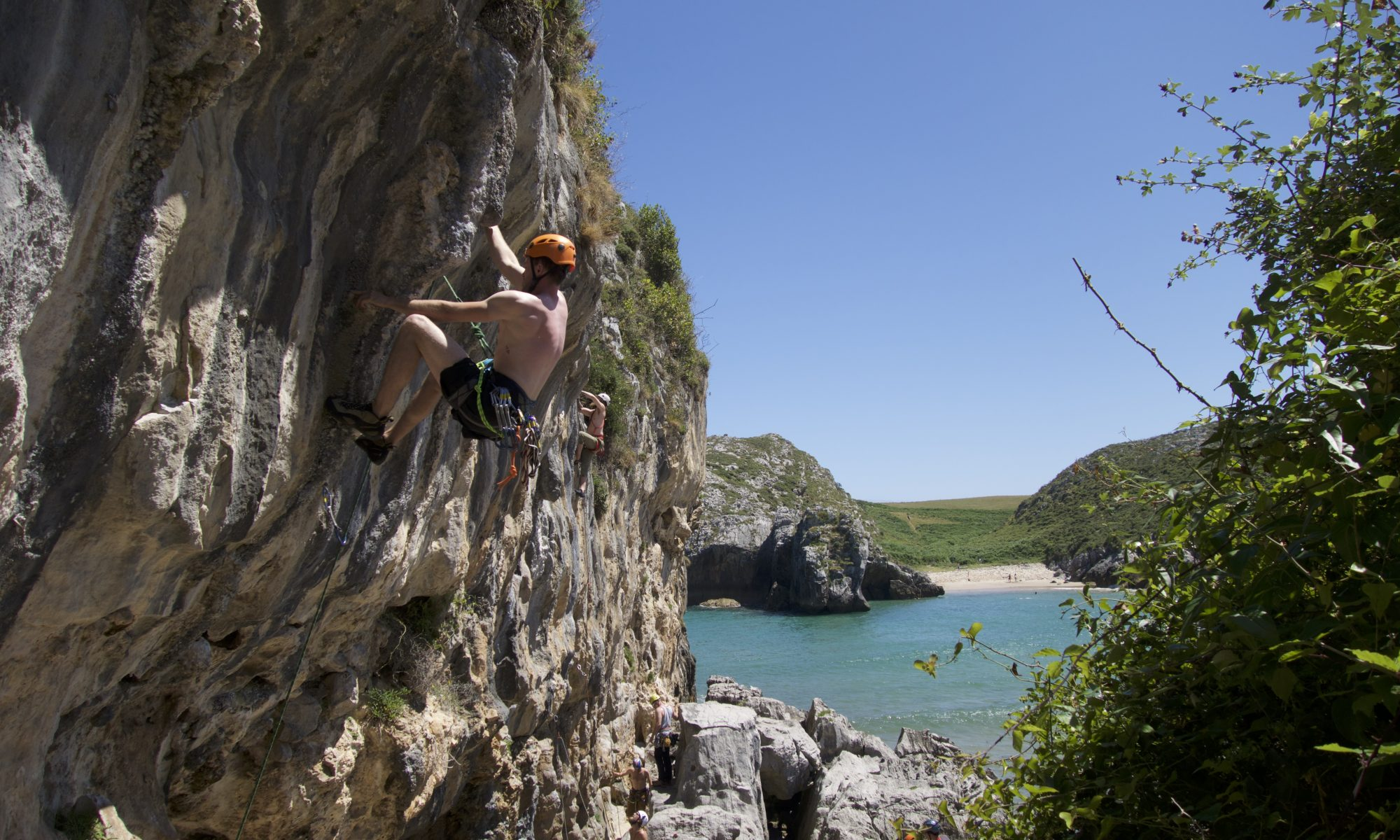 Sun, Sea, Sand, Rock and a bar. Perfect conditions at Cueva Del Mar. Picos De Europa