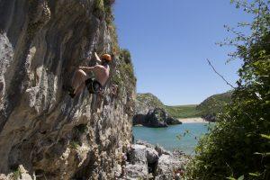 Sun, Sea, Sand, Rock and a bar. Perfect conditions at Cueva Del Mar. Picos De Europa