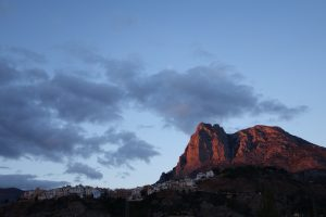 Finestrat and the Puig Campana at sunset.