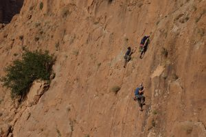 Rock climbing on the two pitch crag, La Jardine De Gorges.