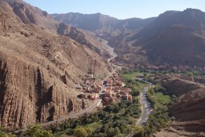Looking down on the village just outside the Todra Gorge from the top of a climb.