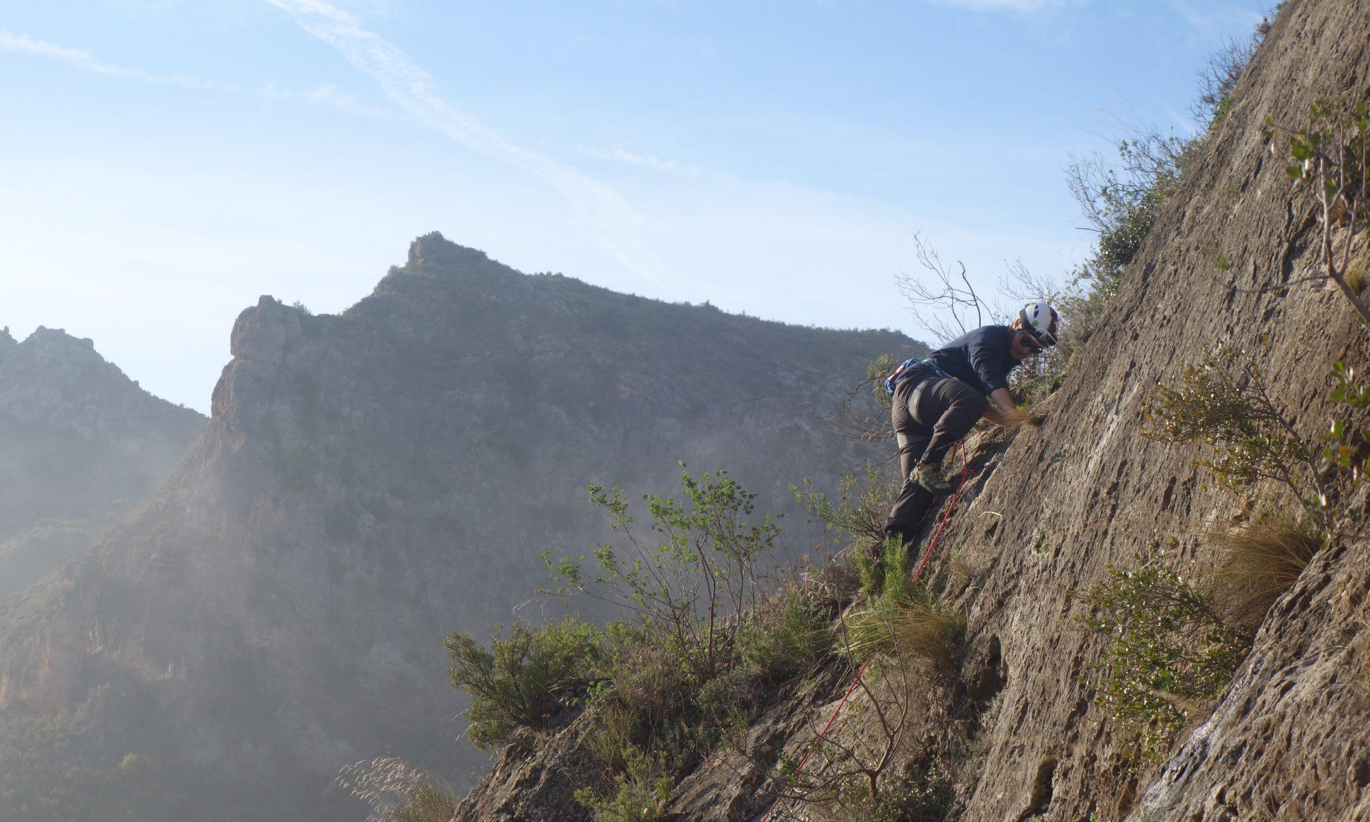 Another climber enjoying El Rincon 4a, Chodes, near Madrid.