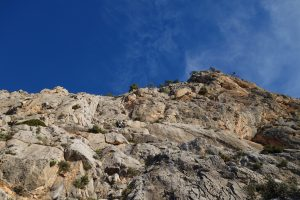 Simon Lake linking the first three pitches on alpine scale Epsilon Central on the Puig Campana.