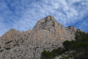 Looking up at the Puig Campana, with the Epsilon Central, just right on the centre of the peak.