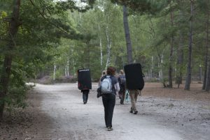 Walking in to the forest of fontainebleau