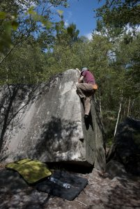 Climbing aretes in Fontainebleau