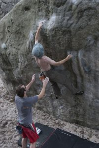 Mark tries to hold the smee slopers on this classic 6c in Font.