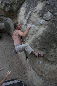 Naill boulder ing around the Cul Du Chein.