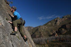 Slab climbing on El Rincon on the Macizo Del Ali in Chodes, near madrid.
