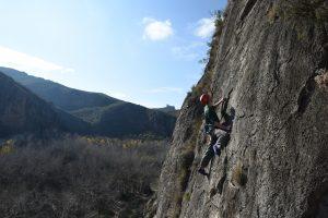 Cameron on the amazing 5c Aqui Se Atasca La Baska on Macizo Del Ali, Chodes, near madrid