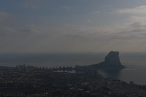 Looking out across a hazy Calpe towards the amazing Penon D'Ifach from Olta.