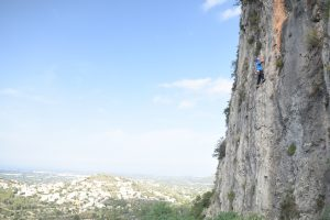 Jonty on an great technical 6a at L'Ocaive in Jalon valley Costa Blanca