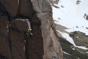A climber laybacking up the E2 Aprendiendo A Valor, Frey Argentina.