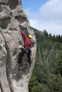 A unique pocketed arete at Cerro Otto in Bariloche.