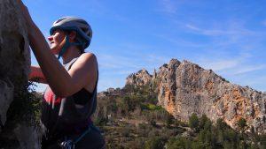 Marissa warming up on La Sopla 5+ at Guadalest