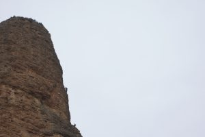 Climbers on the final arete of a classic Aguja Rojo route at Riglos.