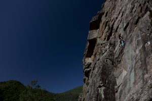 The amazing fine conglomerate crag of Amasola, here a pleasant 5c warm up.