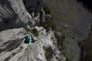 Looking down the impressive 1st Espolon Area in Atxarte, this route is a classic f5c.